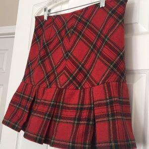 Banana Republic Plaid Holiday Skirt Flare Red wool